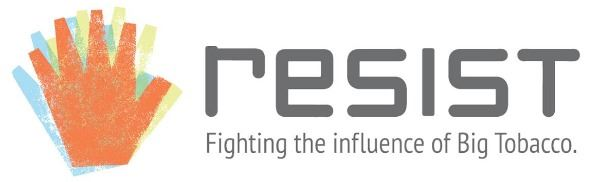Logo-horizontal with a hand that says Resist - Fighting the Influence of Big Tobacco