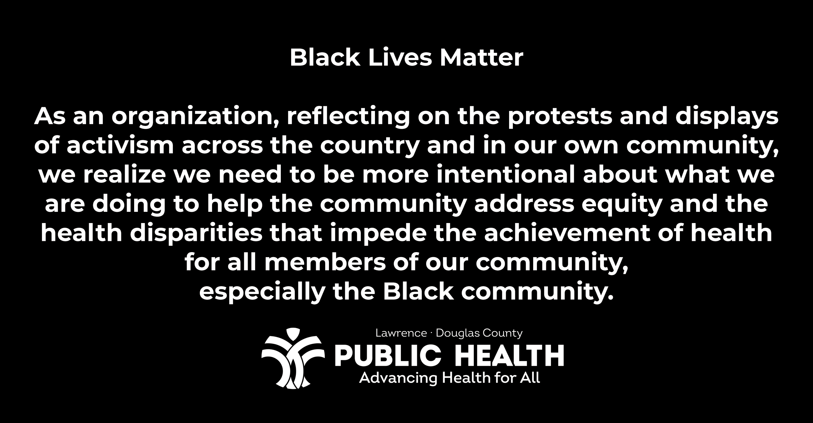 Statement on Racism and Action to Pursue Health Equity